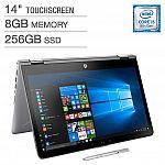 "HP Pavilion x360 14"" FHD Touchscreen 2-in-1 Laptop (i5-8250U 8GB 256GB) + Bonus HP Digital Pen $550"