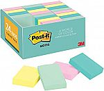 24 Pads/Pack Post-it Notes, 1 3/8 in. x 1 7/8 in, Marseille Colors $6.89