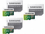 3-pack Samsung MicroSDXC EVO Select UHS-3 64GB Memory Card w/ Adapter $29.99