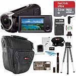 Sony HDR-CX405/B Handycam HD Camcorder w/ 32GB Deluxe Accessory Kit $151