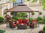 Sunjoy 11.4'X 13.2' Madison Pavilion Hex Shape Soft Top Gazebo with Serving Shelf $350