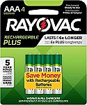 4-Count Rayovac High Capacity Rechargeable Plus AAA Batteries $4.18