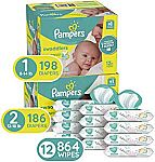 Amazon Pampers Diaper Bundle (Size 1 198-Ct. + Size 2 186-Ct. + 864-Count Baby Wipes) $98.25 & More