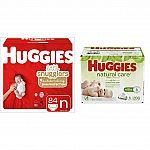 84-Ct. Huggies + 288 Natural Care Wipes (Newborn) $23.25