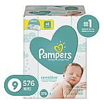 2-Pack 576-Count Pampers Baby Diaper Wipes $21.58