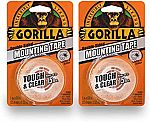 """2-Pack Gorilla Mounting Tape Clear, 1"""" x 60"""" $4.94"""