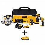 DeWALT 20V MAX Li-ion Cordless Combo Kit (4-Tool) w/ 2x Batteries 2Ah, Charger, Tool Bag, Battery Pack 2Ah $249 (49% Off) & More + FS