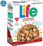 3-Count 13-oz Quaker Life Breakfast Cereal (Cinnamon) $3.50 or Less