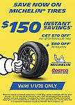 (Today Only) COSTCO - $150 Off Set of 4 Michelin Tires and Installation