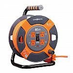 Link2Home 80 ft. 14/3 Extension Cord Storage Reel with 4 Grounded Outlets and Surge Protector $60 and many more