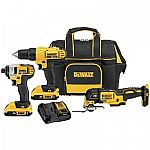 DEWALT 3-Tool 20-Volt Max Power Tool Combo Kit w/ Charger & 2-Batteries $149 (50% Off) & More