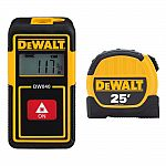 DEWALT 40 ft. Lithium-Ion Rechargeable Pocket Laser Distance Measurer and 25 ft. x 1-1/8 in. Tape Measure $24.88