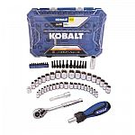 Kobalt 63-Piece Standard (SAE) and Metric Polished Chrome Mechanics Tool Set $20 (Was $40)