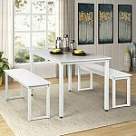 Harper & Bright Designs 3-Piece Dining Table Set w/ 2 Benches $123