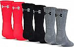 6-Pairs Under Armour Youth Charged Cotton 2.0 Crew Socks $7.60 (60% Off)