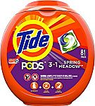 81-Count Tide Pods 3 in 1 HE Turbo Liquid Laundry Detergent Pacs (Multiple Scent) $15
