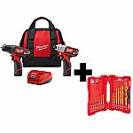 Milwaukee M12 Cordless Drill Driver/Impact Driver Combo Kit (2-Tool) w/ Titanium Drill Bit Set $99 & More Power Tools Up 60% off (DeWalt, Ryobi)+ Free Shipping