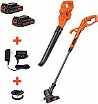 "Black+Decker 20V MAX Lithium 10"" String Trimmer/Sweeper w/ 2X Batteries $68"