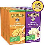 12-Ct. Annie's Shells & White Cheddar + Shells & Aged Cheddar Macaroni and Cheese $9.19