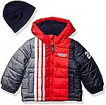 LONDON FOG Baby Boys' Color Blocked Puffer Jacket Coat with Hat $10
