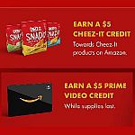 Amazon - Get $5 Prime Video + $5 Cheez-It Credit Free When You Watch 5 Hours of Select Content,