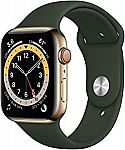 Apple Watch Series 6 GPS & Cellular 44mm Gold Stainless Steel Case With Cyprus Green Sport Band - M07N3LL/A $699