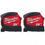 2-Pack Milwaukee 25 ft. x 1.2 in. Compact Wide Blade Tape Measure $10