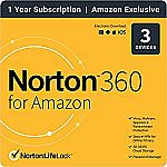 Norton 360 for Amazon – Antivirus software for up to 3 Devices (1yr Subscription) $14.99 and more