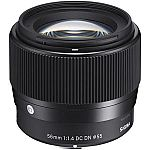 Sigma 56mm f/1.4 DC DN Contemporary Lens for Sony E-Mount Cameras $339