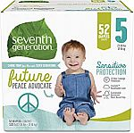 52 Count Seventh Generation Size 5 Baby Diapers $5.28