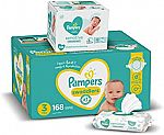 Pampers Diapers Size 3, 168 Count and Baby Wipes Sensitive Pop-Top Packs, 336 Count $43