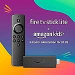 Fire TV Stick Lite w/ 3 months of Amazon Kids+ $18.98