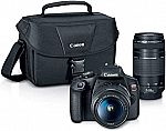 Canon EOS REBEL T7 DSLR Camera w/ EF18-55mm + EF 75-300mm Lens, Black $499