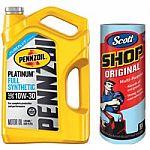 5-Qt Pennzoil 10W30 Full Synthetic Platinum Motor Oil + Scott Shop Towel $17 & More