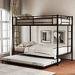 Merax Twin Over Twin Metal Bunk Bed w/ Trundle $212