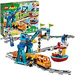 105-Piece LEGO Battery-Operated Duplo Cargo Train Building Blocks Set $99