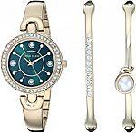 Anne Klein Women's Swarovski Crystal Accented Watch and Bangle Set $50 (Org $150)
