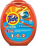 96-Count Tide PODS HE Laundry Detergent Liquid Pacs (2X for $32)