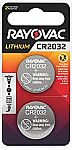 2-Count Rayovac 3V Lithium Coin Cell CR2032 Batteries $1.63
