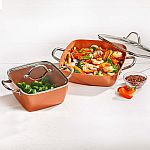 "Copper Chef 4-Piece Deep Casserole Pan Set (8"", 12"") $24.98"