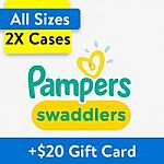 2X Cases Huggies Little Movers Diapers + $25 Walmart Gift Card $90, 2X Pampers Swaddlers + $20 GC from $99