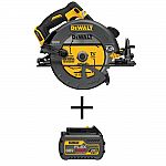 DEWALT FLEXVOLT 60V MAX Li-Ion Cordless Brushless 7-1/4 in. Circular Saw with Li-Ion 6.0Ah Battery $179