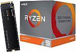 AMD Ryzen 9 3900X 12-Core 3.8GHz Desktop Processor + 500GB WD Black SN750 NVMe PCIe SSD $450