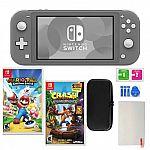 Nintendo Switch Lite in Gray with Crash Bandicoot Mario Rabbids Kingdom Battle and Accessories $199