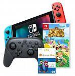 Nintendo Switch with Neon Joy Cons Starter Bundle $450