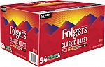 54-ct Folger's Classic Roast Coffee Pods $19.99