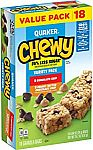 18-Ct Quaker Chewy Granola Bars, 25% Less Sugar, 2 Flavor Variety Pack $2.80