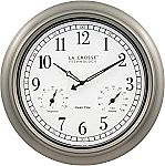 La Crosse Technology 404-1946-INT 18-Inch Indoor/Outdoor Classic Plastic Pewter Atomic Analog Clock $42.30
