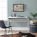42 in. Matte White Metal Desk with Curved Top $99