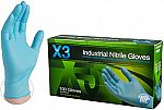 100-Count AMMEX X3 Industrial Blue Nitrile Gloves $8